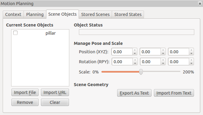 MoveIt planning scene object tab